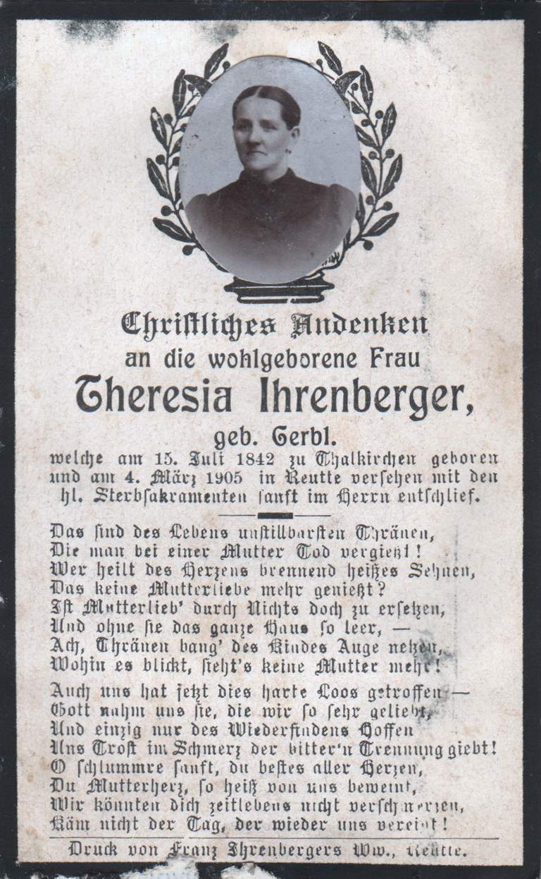 Ihrenberger Theresia, Reutte